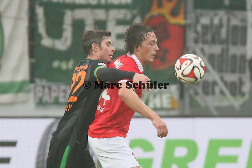 Julian Baumgartlinger (Mainz) gegen Fin Bartels (Werder) - 1. FSV Mainz 05 vs. SV Werder Bremenl, Coface Arena