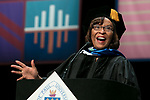 Sharon Draper, distinguished teacher and celebrated novelist, addresses the graduating class after receiving her honorary degree Saturday, June 10, 2017, during the DePaul University College of Education commencement ceremony at the Rosemont Theatre in Rosemont, IL. (DePaul University/Jeff Carrion)