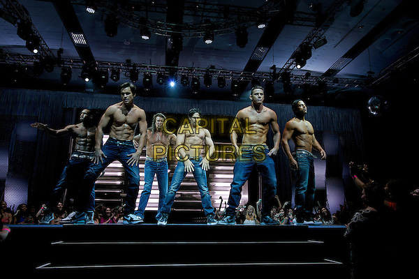 STEPHEN 'TWITCH' BOSS as Malik, MATT BOMER as Ken, KEVIN NASH as Tarzan, JOE MANGANIELLO as Richie, CHANNING TATUM as Mike and ) ADAM RODRIGUEZ as Tito Tito in Warner Bros. Pictures' &quot;MAGIC MIKE XXL,&quot; a Warner Bros. Pictures release.<br /> *Filmstill - Editorial Use Only*<br /> CAP/NFS<br /> Image supplied by Capital Pictures