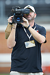 WFMY staff videographer Brian James Hall hard at work during the ACC football game between the Wake Forest Demon Deacons and the Clemson Tigers at BB&T Field on October 6, 2018 in Winston-Salem, North Carolina. The Tigers defeated the Demon Deacons 63-3. (Brian Westerholt/Sports On Film)