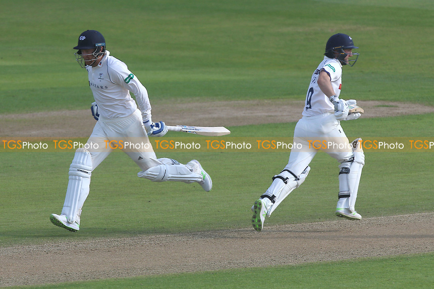 Johnny Bairstow (L) and Adam Lyth add to the Yorkshire total during Essex CCC vs Yorkshire CCC, Specsavers County Championship Division 1 Cricket at The Cloudfm County Ground on 4th May 2018