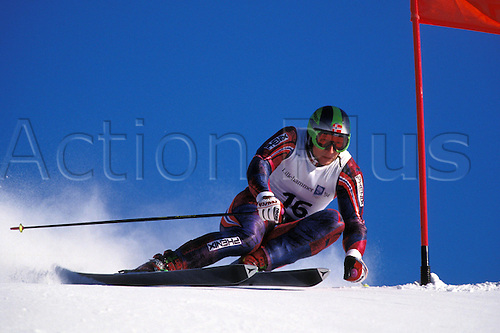 February 1994: View of LASSE KJUS (NOR) competing in the Mens Giant Slalom, Winter Olympic Games, Lillehammer, Norway. Photo: Glyn Kirk/Action Plus...skiing skier snow .9402