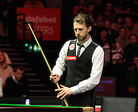 Judd Trump ponders over his shot selection during the Dafabet Masters Quarter Final 2 match between Judd Trump and Neil Robertson at Alexandra Palace, London, England on 15 January 2016. Photo by Liam Smith / PRiME Media Images.