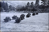 BNPS.co.uk (01202 558833)<br /> Pic: Bellmans/BNPS<br /> <br /> Formidable SAS troops in their heavily armed jeeps on a football pitch during the liberation of Norway.<br /> <br /> A fascinating trove of SAS records including some of the first photographs of the elite force which have never been seen before has been unearthed. <br /> <br /> The extensive assortment, also including medals and documents, was accumulated by war hero Lance Corporal William James Cooke at the end of World War Two. <br /> <br /> Remarkable images of Cooke's previously unrevealed wartime exploits show him serving behind enemy lines in occupied France and assisting with the liberation of Norway. <br /> <br /> His accomplishments have come to light after a family member presented the bequeathed collection to Hampshire-based auctioneer Bellmans, which will sell it tomorrow.