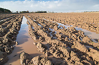 Water logged winter ploughing - Lincolnshire, January