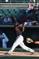 Marquez Smith # 7 of the Bakersfield Blaze bats against the Lancaster JetHawks at The Hanger on May 13, 2014 in Lancaster California. Lancaster defeated Bakersfield, 1-0. (Larry Goren/Four Seam Images)