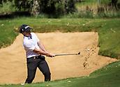 10th February 2018, Lake Karrinyup Country Club, Karrinyup, Australia; ISPS HANDA World Super 6 Perth golf, third round; Jake McLeod (AUS) out of a bunker
