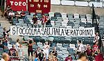 Stockholm 2014-07-31 Fotboll Europa League IF Brommapojkarna - Torino FC :  <br /> Torinos supportrar med en banderoll under matchen mellan Brommapojkarna och Torino<br /> (Foto: Kenta J&ouml;nsson) Nyckelord:  BP Brommapojkarna IFB Tele2 Arena Europa League Torino FC TFC Italien Itay supporter fans publik supporters