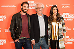 "Spanish actor Dani Rovira (L), spanish director Emilio Martinez-Lazaro (C) and spaish actress Clara Lago during the presentation of the film ""Ocho Apellidos Catalanes"" in Madrid, November 17, 2015.<br /> (ALTERPHOTOS/BorjaB.Hojas)"
