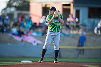 Eugene Emeralds starting pitcher Faustino Carrera (9) gets ready to deliver a pitch during a Northwest League game against the Salem-Keizer Volcanoes at Volcanoes Stadium on August 31, 2018 in Keizer, Oregon. The Eugene Emeralds defeated the Salem-Keizer Volcanoes by a score of 7-3. (Zachary Lucy/Four Seam Images)