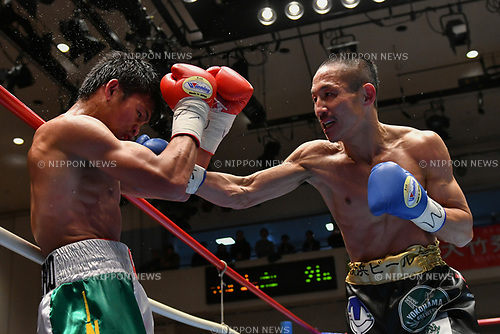 (L-R) Jelbirt Gomera (PHI), Hidenori Otake (JPN),<br /> MARCH 17, 2017 - Boxing :<br /> Hidenori Otake of Japan in action against Jelbirt Gomera of Philippines during the fourth round of the vacant OPBF super bantamweight title bout at Korakuen Hall in Tokyo, Japan. (Photo by Hiroaki Yamaguchi/AFLO)