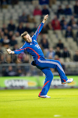 10.09.2012 Manchester, England. England and Nottinghamshire player Graeme Swann in catching action during the NatWest International Twenty20 cricket match between England and South Africa from Old Trafford.