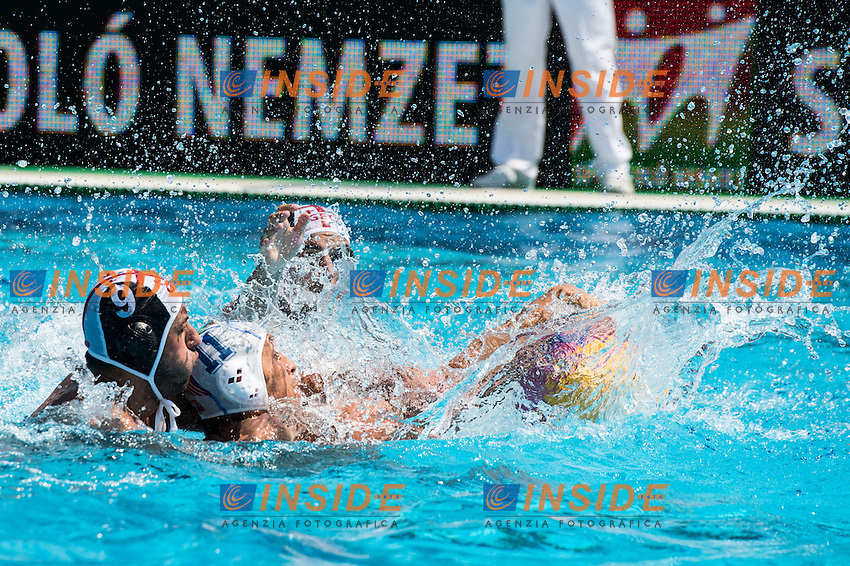 11 AICARDI Matteo ITA<br /> 9 RURUA Zurab GEO<br /> ITA(white) vs GEO(blue) Men<br /> LEN European Water Polo Championships 2014 - July 14-27<br /> Alfred Hajos -Tamas Szechy Swimming Complex<br /> Margitsziget - Margaret Island<br /> Day04 - July 17 <br /> Photo G. Scala/Inside/