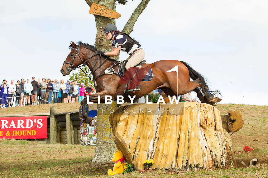 NZL-Kelsey Rothery (THE FELON) INTERIM-2ND: CIC3* CROSS COUNTRY: 2014 NZL-BNZ Kihikihi International Horse Trial (Saturday 12 April) CREDIT: Libby Law COPYRIGHT: LIBBY LAW PHOTOGRAPHY - NZL