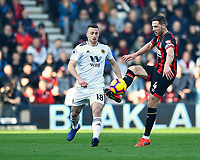 Dan Gosling of AFC Bournemouth controls the ball under pressure from Diogo Jota of Wolverhampton Wanderers during AFC Bournemouth vs Wolverhampton Wanderers, Premier League Football at the Vitality Stadium on 23rd February 2019
