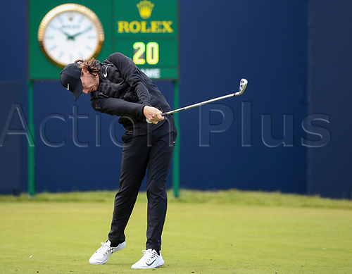 20th July 2017, Royal Birkdale Golf Club, Southport, England; The 146th Open Golf Championship ; First round ; Local favourite Tommy Fleetwood (ENG) strikes his tee shot on the opening hole