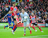 Lincoln City's Tyler Walker scores the opening goal beating Sunderland's Jon McLaughlin<br /> <br /> Photographer Andrew Vaughan/CameraSport<br /> <br /> The EFL Sky Bet League One - Lincoln City v Sunderland - Saturday 5th October 2019 - Sincil Bank - Lincoln<br /> <br /> World Copyright © 2019 CameraSport. All rights reserved. 43 Linden Ave. Countesthorpe. Leicester. England. LE8 5PG - Tel: +44 (0) 116 277 4147 - admin@camerasport.com - www.camerasport.com