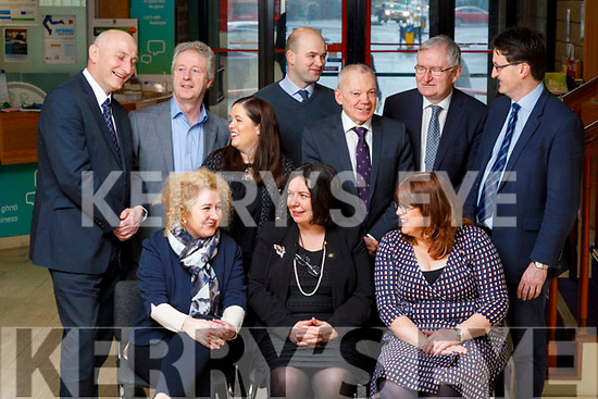 Front Row: Brid McElligott, IT Tralee, Moira Murrell, CEO Kerry County Council, Bridget Fitzgerald, Kerry County Council and Back Row: Tomás Hayes, Kerry Enterprise Board, Eamon O'Reilly NEWKD,Louise Bourke, IRD Duhallow, Dónal Mac an tSíthigh (Údaras na Gaeltachta), Michael Scannell, Kerry County Council, Oliver Murphy, IT Tralee, Noel Spillane, South Kerry Partnership.