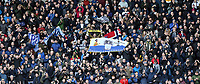 Preston North End fans celebrate at he final whistle <br /> <br /> Photographer Rich Linley/CameraSport<br /> <br /> The EFL Sky Bet Championship - Blackburn Rovers v Preston North End - Saturday 9th March 2019 - Ewood Park - Blackburn<br /> <br /> World Copyright © 2019 CameraSport. All rights reserved. 43 Linden Ave. Countesthorpe. Leicester. England. LE8 5PG - Tel: +44 (0) 116 277 4147 - admin@camerasport.com - www.camerasport.com
