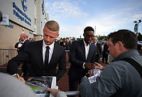 Pictured L-R: Stephen Kingsley and Leroy Fer Wednesday 18 May 2017<br />Re: Swansea City FC, Player of the Year Awards at the Liberty Stadium, Wales, UK.