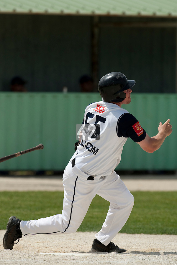 22 May 2009: Anthony Cros of Montpellier is seen at bat during the 2009 challenge de France, a tournament with the best French baseball teams - all eight elite league clubs - to determine a spot in the European Cup next year, at Montpellier, France. Senart wins 7-1 over Montpellier.