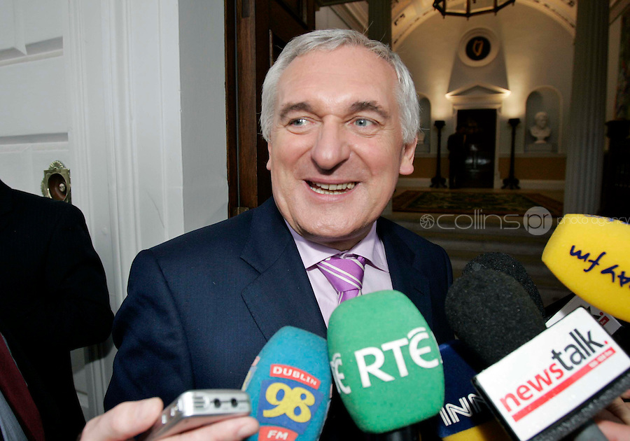 14/06/07  Taoiseach Bertie Ahern after President McAleese signed the  Warrant of Appointment for Taoiseach  at Aras and Uachtarain this evening after he was elected Taoiseach...Picture Collins, Dublin, Colin Keegan.
