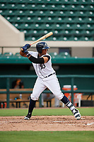 Detroit Tigers Moises Nunez (48) at bat during a Florida Instructional League game against the Pittsburgh Pirates on October 6, 2018 at Joker Marchant Stadium in Lakeland, Florida.  (Mike Janes/Four Seam Images)