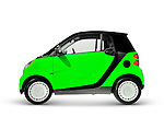 Green fuel efficient city mini car. 2008 Smart Fortwo. Isolated with clipping path on white background.