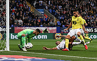 Blackburn Rovers' David Raya saves under pressure from Bolton Wanderers' Josh Magennis as Blackburn Rovers' Derrick Williams looks on<br /> <br /> Photographer Andrew Kearns/CameraSport<br /> <br /> The EFL Sky Bet Championship - Bolton Wanderers v Blackburn Rovers - Saturday 6th October 2018 - University of Bolton Stadium - Bolton<br /> <br /> World Copyright &copy; 2018 CameraSport. All rights reserved. 43 Linden Ave. Countesthorpe. Leicester. England. LE8 5PG - Tel: +44 (0) 116 277 4147 - admin@camerasport.com - www.camerasport.com