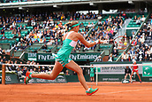 6th June 2017, Roland Garros, Paris, France; French Open tennis championships;  Kristina Mladenovic (FRA)during her game against Timea Bacsinszky (SUI)
