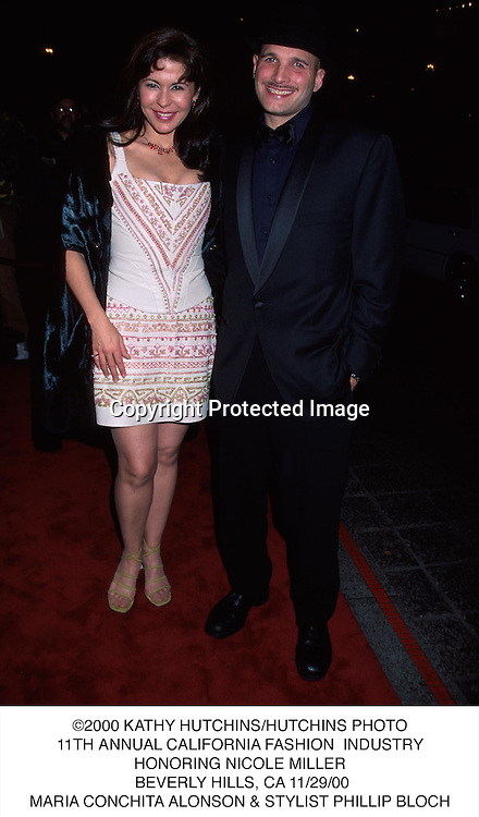 ©2000 KATHY HUTCHINS/HUTCHINS PHOTO.11TH ANNUAL CALIFORNIA FASHION  INDUSTRY.HONORING NICOLE MILLER. BEVERLY HILLS, CA 11/29/00.MARIA CONCHITA ALONSON & STYLIST PHILLIP BLOCH.....