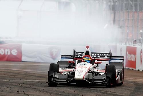 2017 Verizon IndyCar Series - Firestone Grand Prix of St. Petersburg<br /> St. Petersburg, FL USA<br /> Sunday 12 March 2017<br /> Sebastien Bourdais celebrates his victory<br /> World Copyright: Phillip Abbott//LAT Images