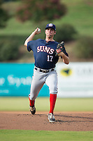 Hagerstown Suns starting pitcher Brian Rauh (17) in action against the Kannapolis Intimidators at CMC-Northeast Stadium on July 19, 2015 in Kannapolis, North Carolina.  The Suns defeated the Intimidators 9-4.  (Brian Westerholt/Four Seam Images)