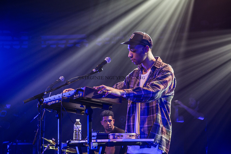 Brussels, Belgium: The beatmaker Shungu is performing at the Botanique for the Belgian music festival Propulse, February 2018.