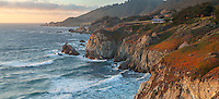 Monterey County, CA<br /> View of Rocky Point on the Big Sur coastline with distant headlands and surf, Cabrillo Highway
