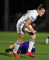 20190920 – LEUVEN, BELGIUM : OHL's  Hannelore van Poppel is pictured after her foul on RSC Anderlecht's Laura-Roxana Rus during a women soccer game between Dames Oud Heverlee Leuven A and RSC Anderlecht Ladies on the fourth matchday of the Belgian Superleague season 2019-2020 , the Belgian women's football  top division , friday 20 th September 2019 at the Stadion Oud-Heverlee Korbeekdam in Oud Heverlee  , Belgium  .  PHOTO SPORTPIX.BE   SEVIL OKTEM