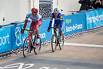 Nils Politt (GER) Team Katusha Alpecin and Philippe Gilbert (BEL) Deceuninck-Quick Step fight it out for the win in the Roubaix Velodrome during the 117th edition of Paris-Roubaix 2019, running 257km from Compiegne to Roubaix, France. 14th April 2019<br /> Picture: Thomas van Bracht/PelotonPhotos.com | Cyclefile<br /> All photos usage must carry mandatory copyright credit (&copy; Cyclefile | Thomas van Bracht/PelotonPhotos.com)