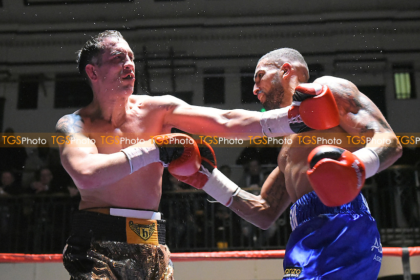 Aaron Morgan (blue shorts) defeats Kevin McCauley during a Boxing Show at York Hall, Bethnal Green