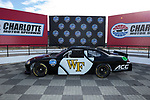A NASCAR race car with the Wake Forest logo on the driver's side door sits in the Winners Circle at the Charlotte Motor Speedway on December 26, 2017 in Concord, North Carolina.  (Brian Westerholt/Sports On Film)
