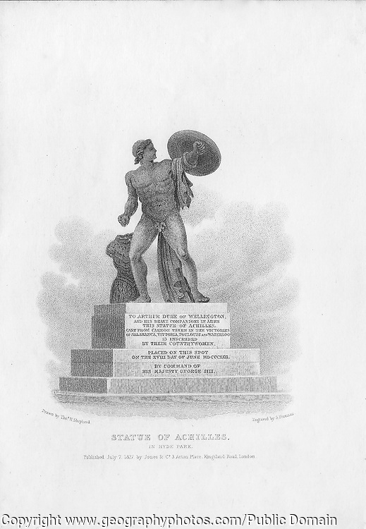 Nineteenth century engraving from 1827, Statue of Achilles, Hyde Park , London, England, UK drawn by Thomas Shepherd , drawn by Thomas H Shepherd
