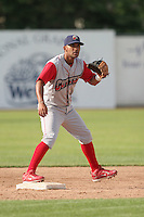 June 27th 2008:  Second baseman Jesus Villegas Andino  of the Williamsport Crosscutters, Class-A affiliate of the Pittsburgh Pirates, during a game at Russell Diethrick Park in Jamestown, NY.  Photo by:  Mike Janes/Four Seam Images
