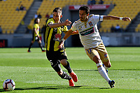 Wellington Phoenix' Louis Fenton and Newcastle Jets' Daniel Georgievski in action during the A League - Wellington Phoenix v Newcastle Jets at Westpac Stadium, Wellington, New Zealand on Sunday 21 October  2018. <br /> Photo by Masanori Udagawa. <br /> www.photowellington.photoshelter.com