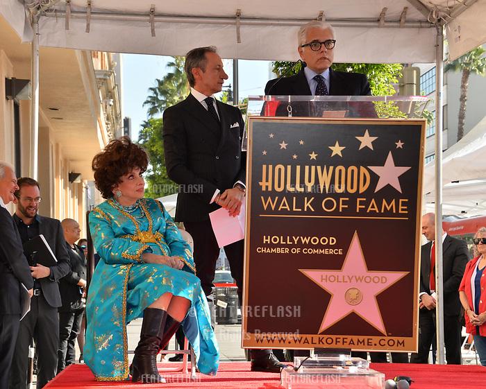 Gina Lollobrigida, Roberto Stabile &amp; Antonio Verde at the Hollywood Walk of Fame Star Ceremony honoring actress Gina Lollobrigida, Los Angeles, USA 01 Feb. 2018<br /> Picture: Paul Smith/Featureflash/SilverHub 0208 004 5359 sales@silverhubmedia.com
