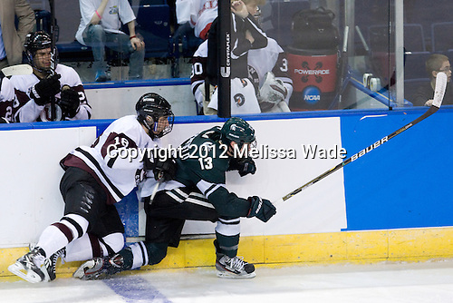 Max Novak (Union - 18), Mike Merrifield (MSU - 13) - The Union College Dutchmen defeated the Michigan State University Spartans 3-1 in their NCAA East Regional semifinal on Friday, March 23, 2012, at the Webster Bank Arena in Bridgeport, Connecticut.