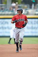Jose Osuna (13) of the Indianapolis Indians rounds the bases after hitting a home run against the Charlotte Knights at BB&T BallPark on August 22, 2018 in Charlotte, North Carolina.  The Indians defeated the Knights 6-4 in 11 innings.  (Brian Westerholt/Four Seam Images)