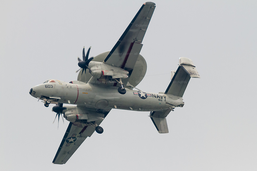 "A Northrop Grumman E2 Hawkeye, early warning aircraft with Carrier Airborne Early Warning Squadron 115 (VAW-115), also known as the ""Liberty Bells"" flies over  Kanagawa, Japan. Tuesday May 31st 2016."