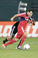 Chicago Fire midfielder Marco Pappa (16) goes against D.C. United midfielder Perry Kitchen (23) D.C. United defeated The Chicago Fire 4-2 at RFK Stadium, Wednesday August 22, 2012.