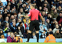 Referee Graham Scott deals with a broken corner flag<br /> <br /> Photographer Rich Linley/CameraSport<br /> <br /> Emirates FA Cup Fourth Round - Manchester City v Burnley - Saturday 26th January 2019 - The Etihad - Manchester<br />  <br /> World Copyright © 2019 CameraSport. All rights reserved. 43 Linden Ave. Countesthorpe. Leicester. England. LE8 5PG - Tel: +44 (0) 116 277 4147 - admin@camerasport.com - www.camerasport.com