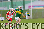 Kerry's Shane Nolan gets away from Derry's Captain Sean McCullagh in the Allianz Hurling League Kerry Vs Derry at Austin Stack Park on Sunday