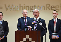 Larry Shackelford, Washington Regional President and CEO, speaks, Monday, March 16, 2020 during a press conference at the Pat Walker Center for Seniors in Fayetteville. Check out nwaonline.com/200317Daily/ for today's photo gallery.<br /> (NWA Democrat-Gazette/Charlie Kaijo)<br /> <br /> Gov. Asa Hutchinson, Dr. Nathaniel Smith, Secretary of the Arkansas Department of Health and other officials provided an update regarding Arkansas's coronavirus response.